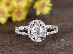 1.75 Ct Oval Cut Moissanite Engagement Ring 18K Solid White Gold ring Size 5 6