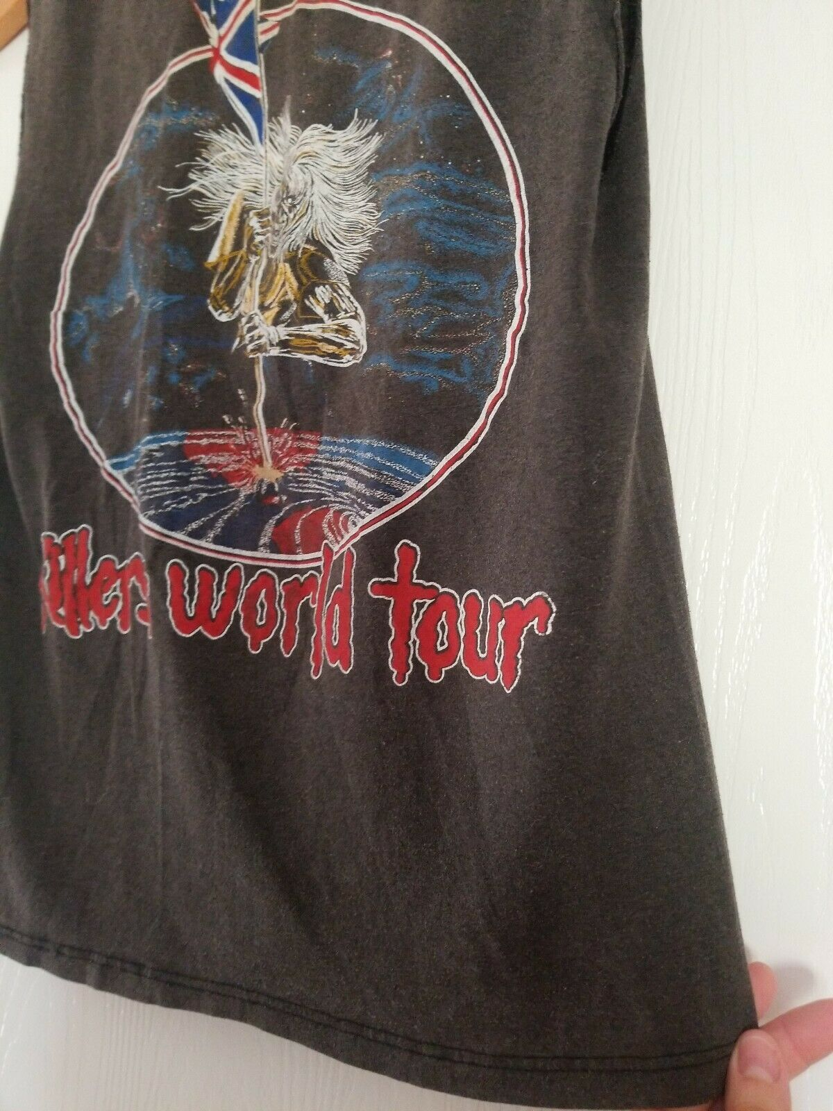 Vintage 80s Iron Maiden Small T-shirt Killers Wor… - image 9