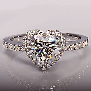 image is loading women heart cut 2ct topaz diamonique cz silver - Diamonique Wedding Rings