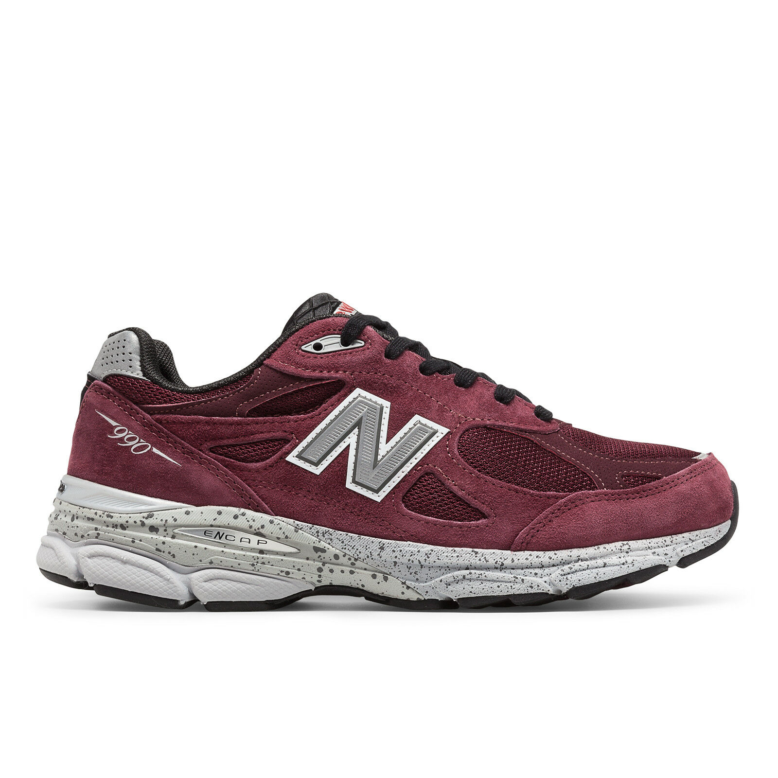 NEW BALANCE MENS M990 RUNNING SHOES BURGUNDY NAVY BLACK/AQUA