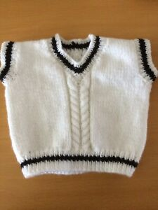 baby jumper slipover sleeveless cricket style colour and size choice hand knit