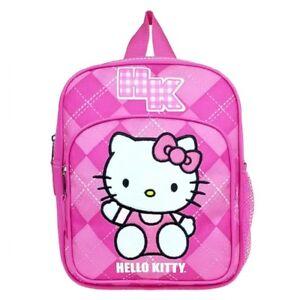 Sanrio-Hello-Kitty-HK-Argyle-Cute-Pink-Kids-Girls-Mini-Backpack-School-Book-Bag