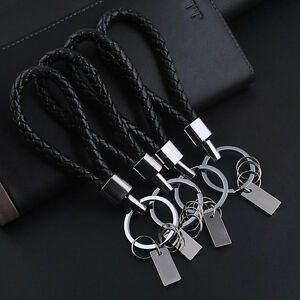 Trendy-Women-Men-Black-Leather-Key-Chain-Ring-Keyfob-Car-Keyring-Keychain-Gift