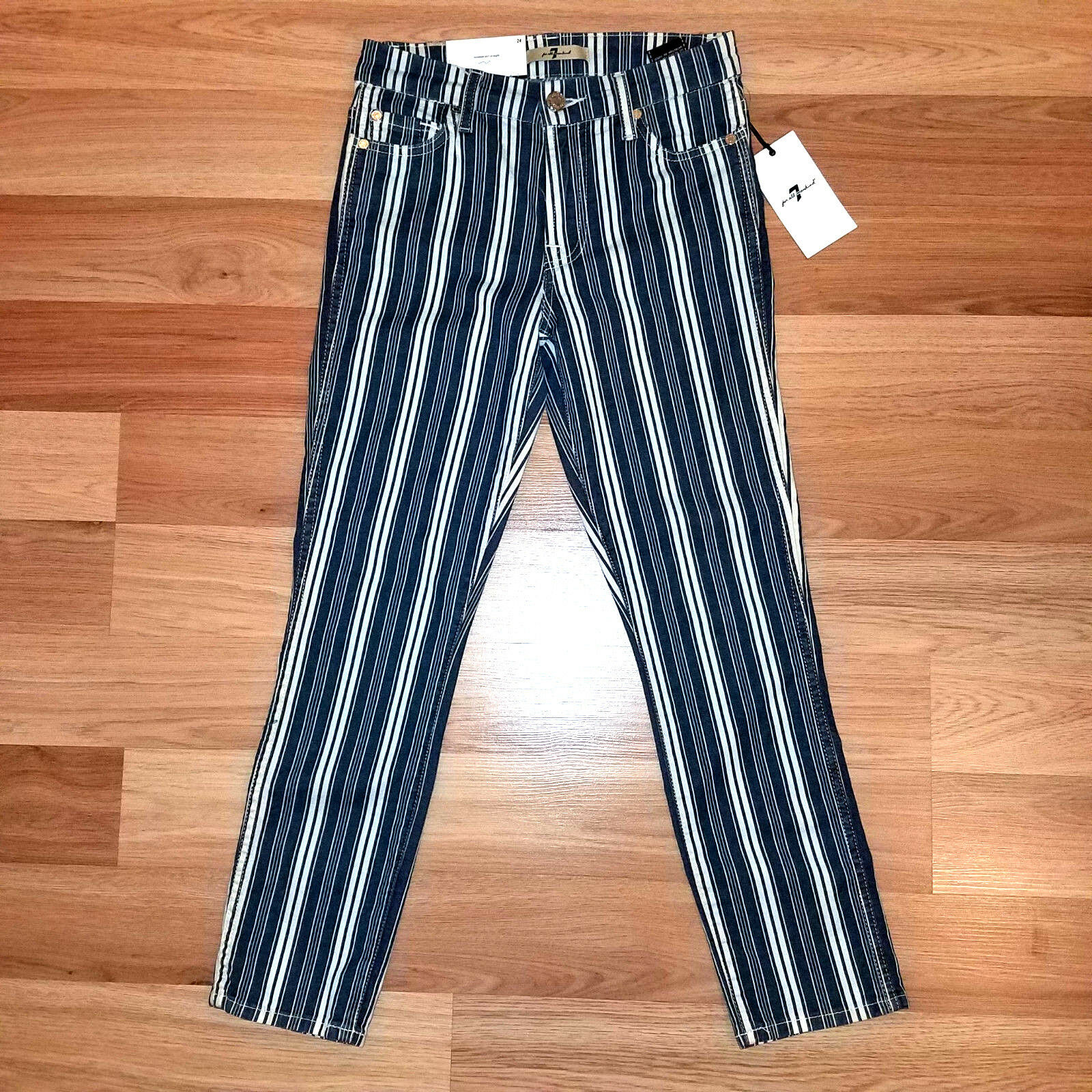 New 7 FOR ALL MANKIND women jeans bluee white slim 24 MSRP