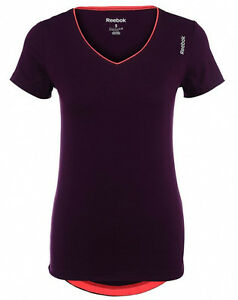 New Reebok Vest Long Bra Top T-Shirt Purple Ladies Womens Gym Training Fitness