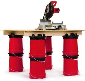 Set of 4 Bucket Builder Plastic Lids 5 Gallon Portable Sawhorse Workbench U.S.A