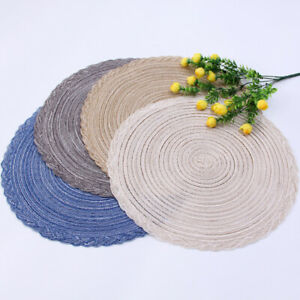 Set-of-6-Braided-Border-Round-Table-Cotton-Placemats-15-034-Wedding-Holiday-Party