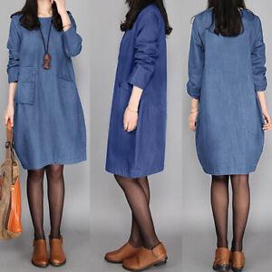 Damen Langarm Rundhals Herbst Vintage Shirtkleid Double Layer Maxikleid Kaftan