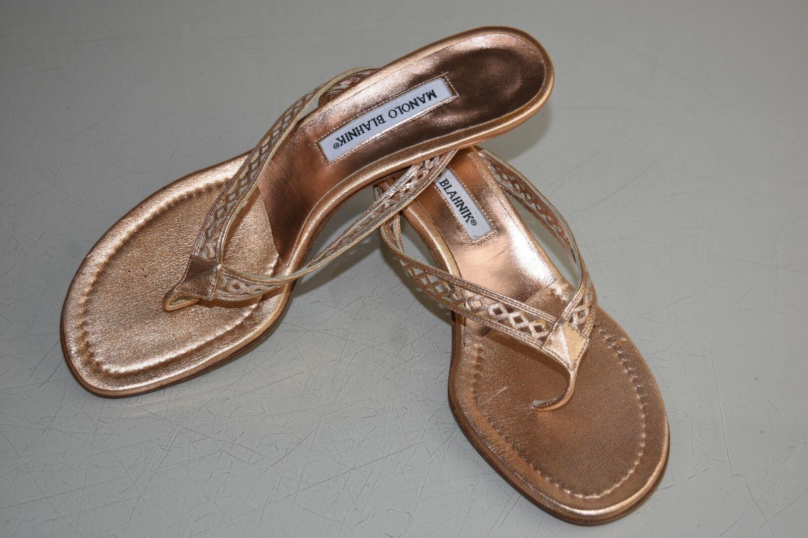 New Manolo Blahnik Thong Slide Kitten Heels Sandals Pink gold gold gold Shimmer shoes 41.5 4a916c