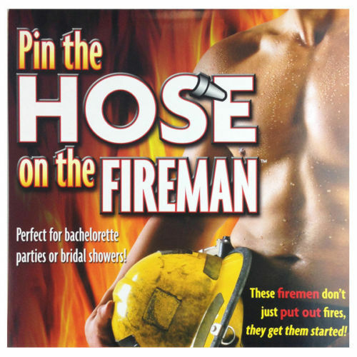 Pin The Hose On The Fireman Fun Bachelorette Bridal Shower Party Game