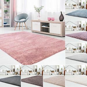 Tapis-Shaggy-Micro-Polyester-d-039-un-epais-Unicolore-Uni-Gris-Blanc-Rose-Bleu-Beige
