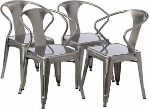 gunmetal tabouret stacking chair set of 4 ebay