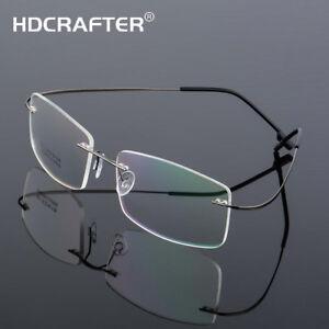 Details about Men's Metal Frameless Spectacle Myopia Frames Anti-blue Light  Optical Eyewear