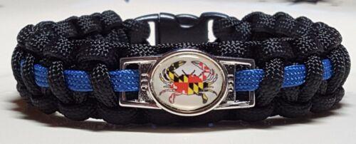 Thin Blue Line Police; Maryland Blue Crab Emblem; MD Police Paracord Bracelet