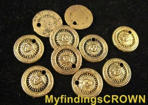 120 pcs Antiqued gold face FLAT ROUND charms FC511