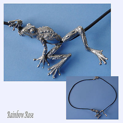 Choker #403 Pewter CLIMBING FROG (65mm x 38mm) Rubber Silicon Cord Necklace