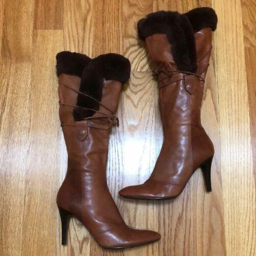 Nine West Cognac Brown Rabbit Fur & Leather Lace U
