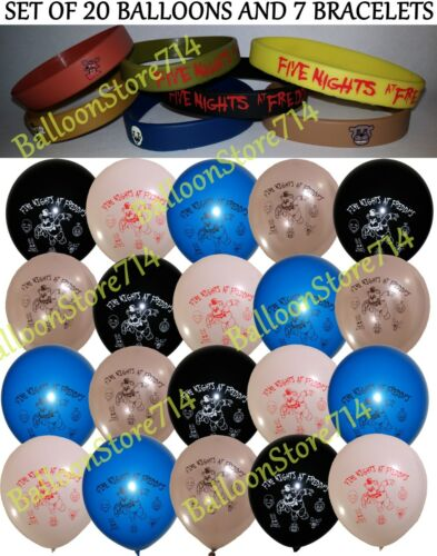 NEW! 27 Piece Set - 7 Five Nights at Freddy's Bracelets & 20 Balloons FNAF Party