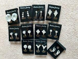 10 pairs of crystal//diamante stud earrings.Silver plated.UK handmade. JOBLOT