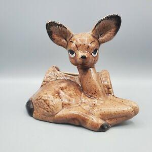 "Vintage Deer Planter Hand Painted Ceramic Big Eyed Sitting Doe & Log 6"" T x 6.5"""