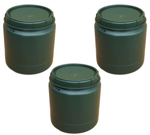 3 x 40 Liter grün Weithalsfass Weithalstonne Vorratsbehälter Aufbewahrung Lager