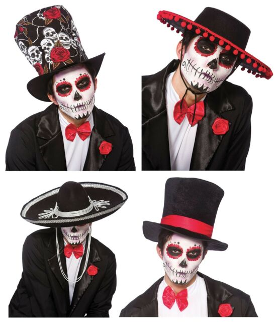 Men/'s Day Of The Dead Senor Bones Fancy Dress Hat Mexico Spanish Stag Halloween