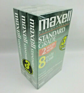 Sealed-3-Pack-Maxell-VHS-T-160-8-Hour-Tapes-Standard-Grade-Video-Tape-NOS