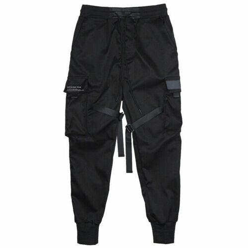 Men Hop Street Cargo Hip Fashion Tactical Trousers Pants Harem Black Joggers
