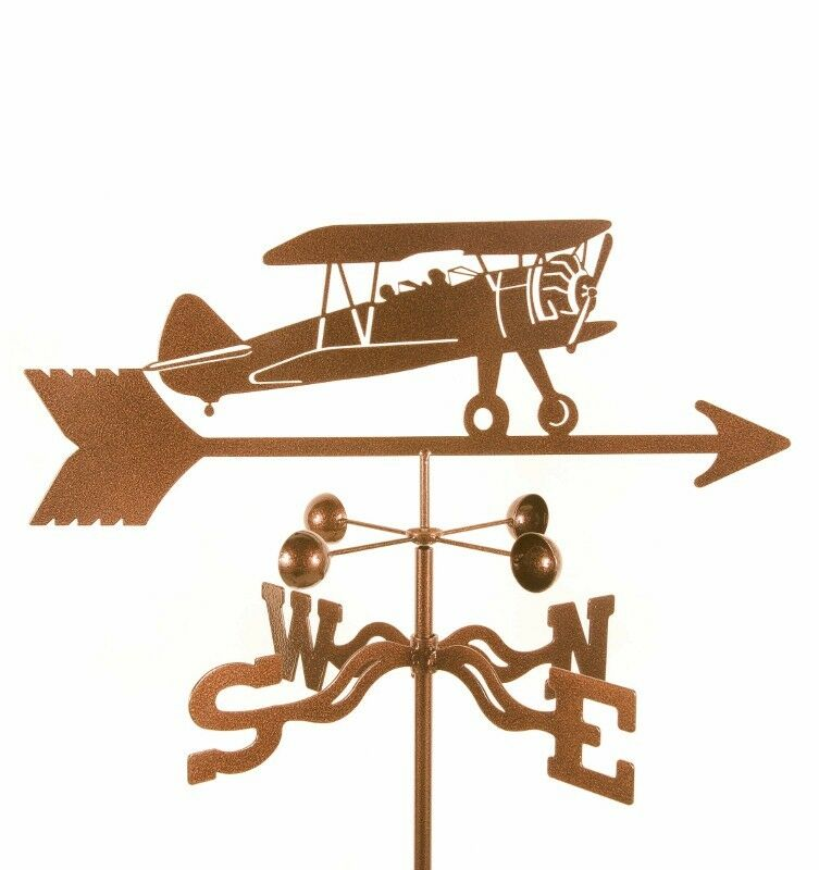 Airplane, Biplane Weathervane, Plane Bi-Plane Weather Vane with Choice of Mount