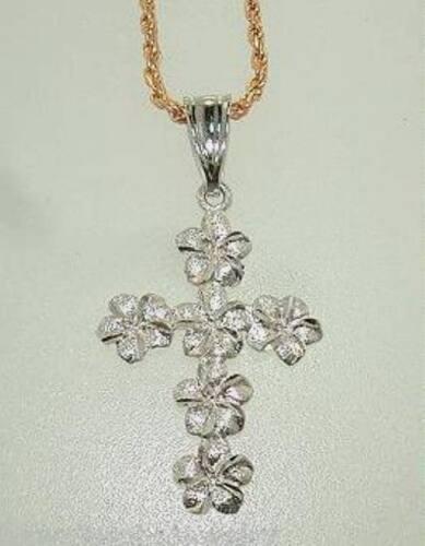 16MM SOLID 14K WHITE GOLD DC DIAMOND CUT HAWAIIAN PLUMERIA FLOWER CROSS PENDANT