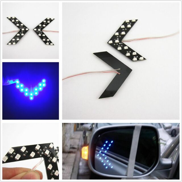 2 Pcs Blue 14SMD LED Arrow Rear View Mirror Turn Signal Lights For 307 2008 3008