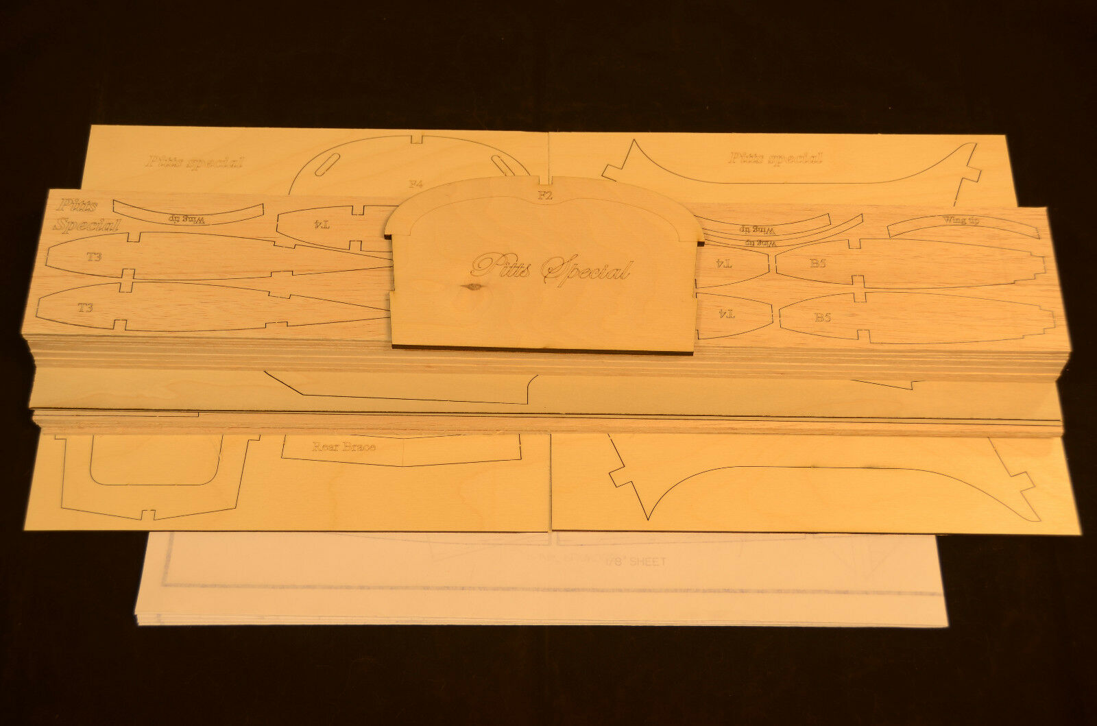 1 4.4 Scale PITTS SPECIAL Laser Cut Short Kit, Plans & instruction  52 in.WS