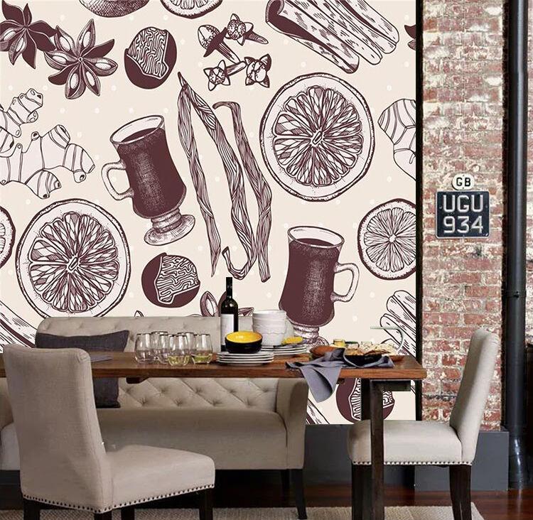 3D Dessert Dîner Photo Papier Peint en Autocollant Murale Plafond Chambre Art