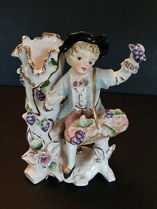 Vtg-Goldmans-Porcelain-Figurine-Vase-Planter-Boy-Basket-Grapes-Gilded-Victorian