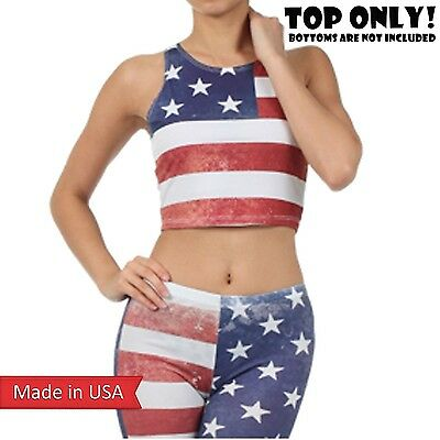 US Flag Classic Weathered Print American Stars n Stripes Cropped Tank Top USA