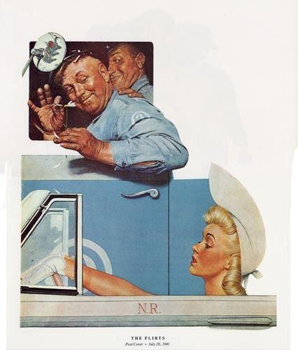 Norman Rockwell Truck Driver Print THE FLIRTS