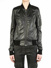 Rick Owens Black Kangaroo Leather Bomber Flight Jacket IT 44  US 10 NEW $3K