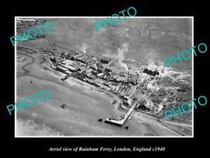 OLD-LARGE-HISTORIC-PHOTO-AERIAL-VIEW-OF-RAINHAM-FERRY-LONDON-ENGLAND-c1940