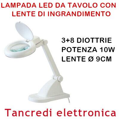 Lampada Da Tavolo Con Lente D Ingrandimento A 3 8 Diottrie Led Laboratorio Ebay