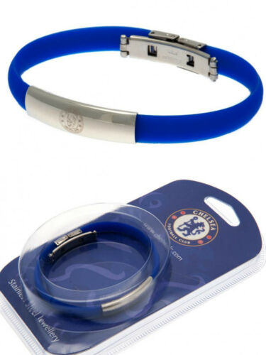 CHELSEA FC STAINLESS STEEL CLUB CREST BRACELET COLOURED SILICONE WRISTBAND GIFT