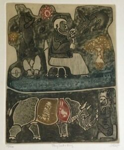 John-Ilhe-034-They-Seek-a-King-034-1960-limited-edition-106-200-print-color-etching