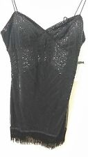 Black dress cocktail perfect embroidery beautiful  shinny short eye catcher