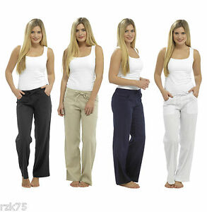 Ladies-Basic-Linen-Trousers-Elasticated-Waist-Summer-Linen-Pants-Size-10-18