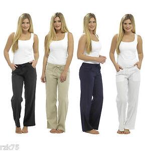 Mujer Basico Pantalones De Lino Cintura Elastica Verano Lino Pantalon Ebay