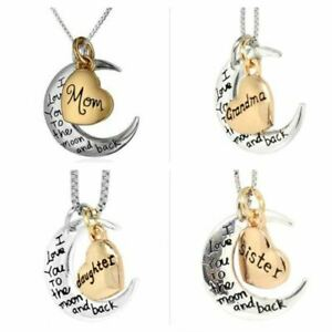 UK-Shop-Silver-039-I-LOVE-YOU-TO-THE-MOON-AND-BACK-039-Engraved-Pendant-Necklace-Mum
