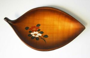 VINTAGE-JAPANESE-LACQUER-LOOK-PLASTIC-GOLDEN-LEAF-BOWL-Hand-Painted-Flowers