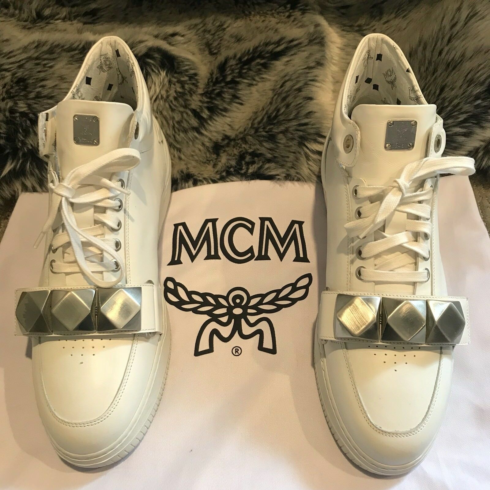 RARE!! MCM Leather Studded Strap Men's Sneakers Limited Edition