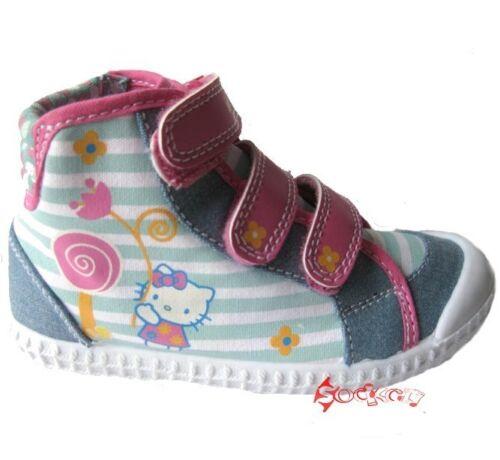 Girls Hello Kitty Log Flume Denim Blue Stripey Canvas Boots