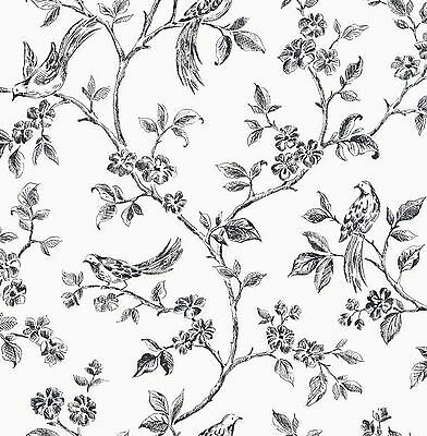 Fine Decor - FD40289 - Flower - Birds - Luxury Motif Wallpaper - Black / White