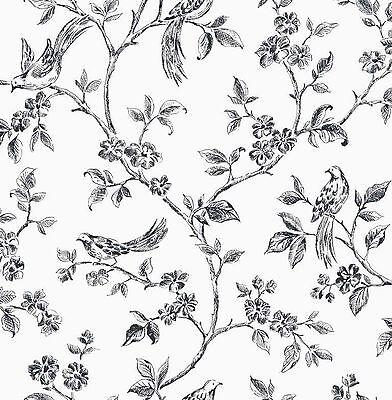Fine Decor - FD40289 - Flower - Birds - Luxury Motif Wallpaper - Black / White